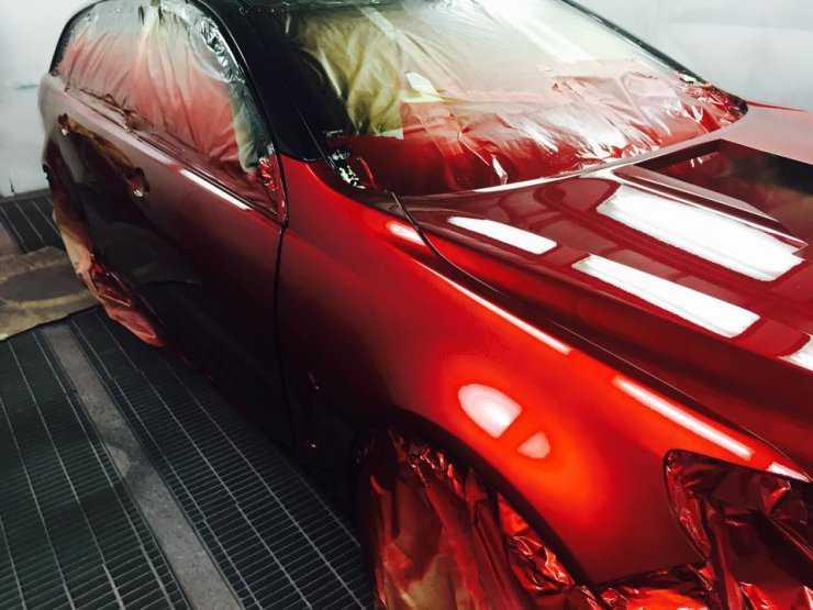 Покраска авто в красный перламутр