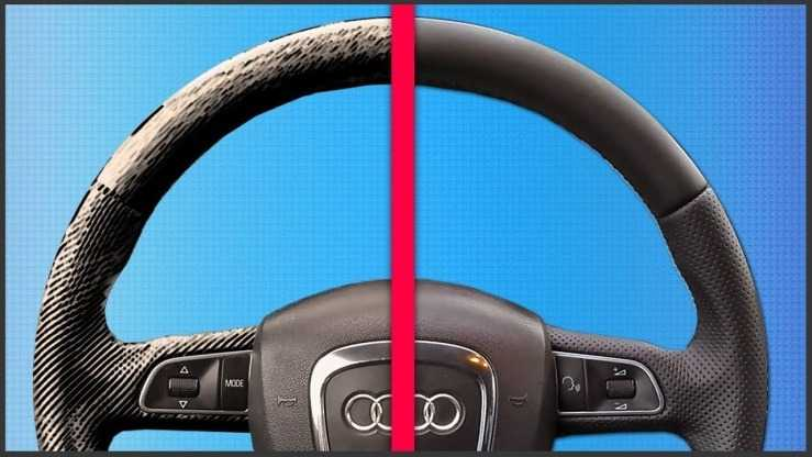 Покраска кожаного руля автомобиля ДО и ПОСЛЕ