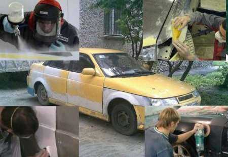 Работа мастеров по покраске авто