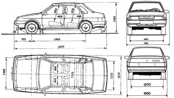Линейные размеры кузова автомобиля
